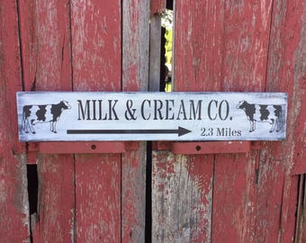 farmhouse kitchen cow sign, wooden dairy sign, primitive cow sign, milk and cream co sign
