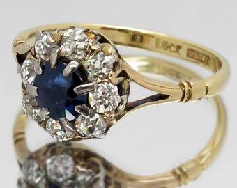 Antique Sapphire & Diamond Ring, 18ct Gold / Platinum Ring, 0.50 Carat Blue Sapphire, 8 Diamonds 0.45 Carat, Early 1900s, Engagement / Gift