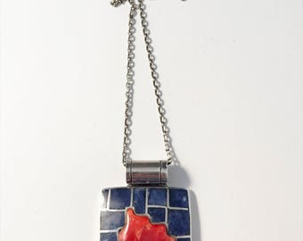 Vintage Solid Silver Lapis Lazuli Coral Inlay Modernist Pedant Necklace.