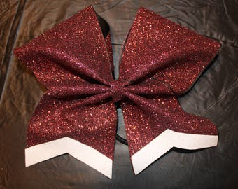 Maroon and white bow