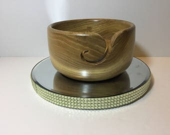 Wooden yarn bowl, hand turned from ELM         (ELM25)