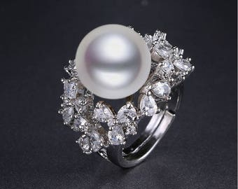 Shell Pearl Marquise Ring leaf shape exquisite CZ Gem ring for women