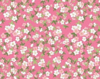 "Riley Blake Designs, Safari Floral Pink with Sparkle, from ""Safari Party"" by Melissa Mortenson, fabric by the yard"