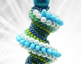 Cod C0101 pendant with seed beads, glass and Pearl drop from 10 mm