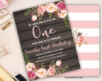 boho 1st birthday invitation, barn wood first birthday invitation, floral 1st birthday invitation, girl birthday invitation, bohemian invite