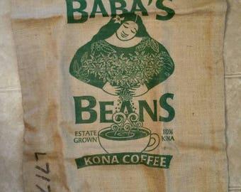"Vintage ""Baba's Beans"" Kona Coffee Koa Coffee Plantation Captain Cook Hawaii  100 lb. empty burlap sack"