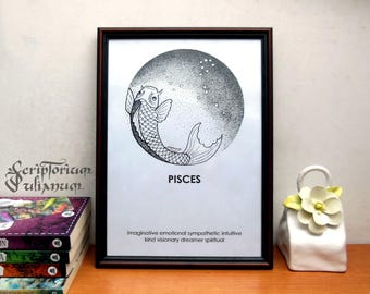 Pisces print, Astrology download wall art, March birthday gift, male Pisces star sign, Pisces constellation poster, Zogiac gift, V-day gift