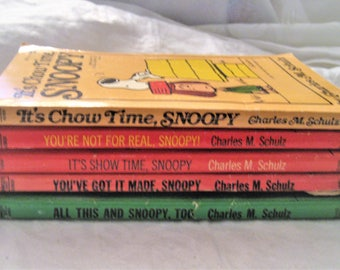 Lot of 5 Snoopy Books Vtg 1958-1966 Charles Schulz It's Show Time Its ChowTime You've Got It Made You're Not For Real All This & Snoopy Too