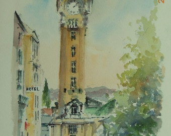 The Gare de LIMOGES Benedictine watercolor on arches