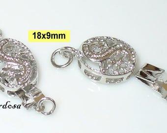 2 connector locks filigree oval silver bright 9x18mm (K111. 4)