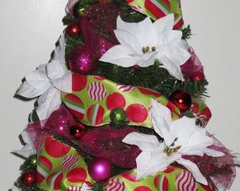 Christmas Pop, tabletop Christmas Tree, Christmas Decoration, OOAK Christmas, Topiary Tree, Mini Christmas Tree, Home Decor, Handmade, Gift