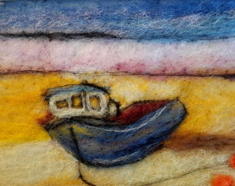 Original Felt picture Boat on Beach, Nautical Felted Art Picture, Seaside Seascape Picture, English Felted Needle Fibre Art, Ocean Art Gift
