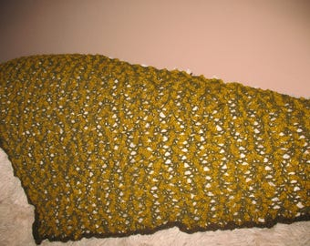 SHAWL CROCHET mustard yellow and Brown