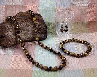 """20"""" Tiger Eye Necklace, Bracelet & Earring Jewelry Set"""