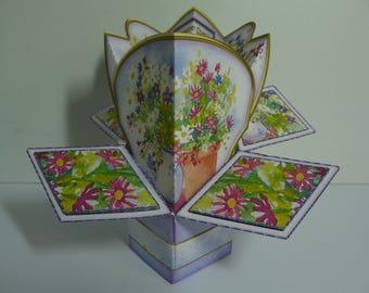 Pot Of Daisies Pop Up Card