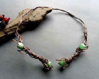 Copper Elvish necklace Fantasy necklace Wire wrapped necklace Wire Elvish jewelry Elven necklace Wire wrap Rustic copper Torque necklace