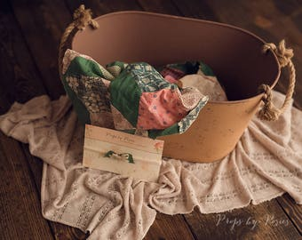 Newborn Photography Prop - Newborn Layer Bundle, Light Tan and Green