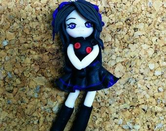 Handmade pendant,Lolita Gothic knitted doll