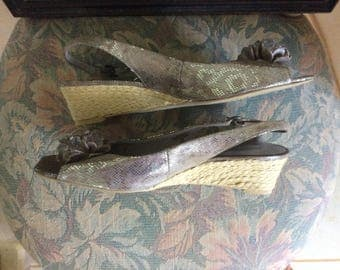 Vintage Woman's Shoes, Silver, Ann Klein, Worn For a Wedding Only, Size 8.5