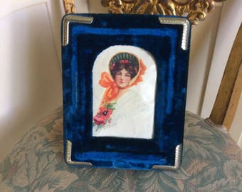 Antique Victorian Picture Frame, Royal Blue Velvet, Easel, Ornate Silver Corners, with Glass, Print inside Frame