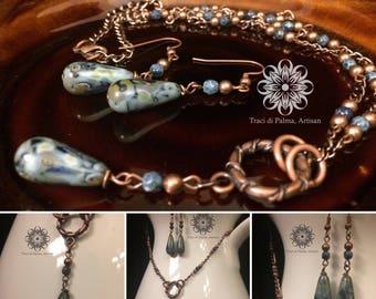 Czech Glass Teardrops Necklace and Earrings
