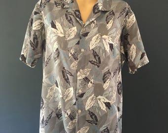 Blue men's vintage leaf shirt