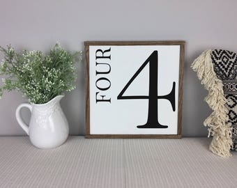 Number Sign | Gallery Wall Decor | Farmhouse Decor | Family Number Sign | Fixer Upper Sign
