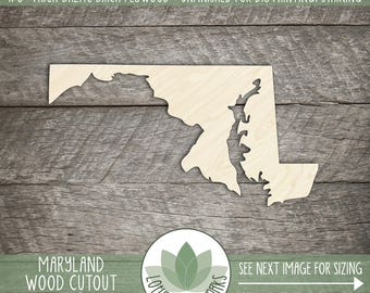 Maryland, Unfinished Wood Maryland Laser Cut Shape, DIY Craft Supply, Many Size Options