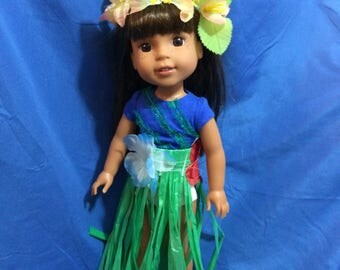 Grass Skirt and Lei Set for 14 inch doll like Wellie Wisher. 14 inch doll accessories
