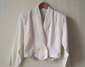 White cropped 1980's blazer / Double-breasted white vintage blazer / cropped 80's jacket