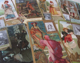 Rare set 14 large antique French Art Nouveau Lefevre-Utile giveaway biscuit gum cards, artist trading cards c1880