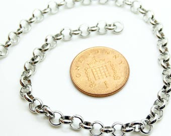 1mt x 5mm stainless steel rolo chain | stainless steel rolo chain| loose rolo chain| stainless rolo chain | loose stainless chain uk|