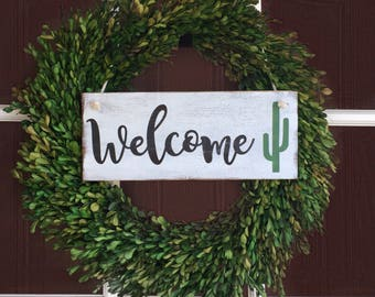 Cactus Sign- Welcome Sign For Front Door - Wreath Sign - Outdoor Sign - Wood Sign - Desert Decor - Front Yard Sign - Arizona - Cactus