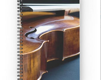 Cello Notebook ~ Music Gift for Musician Notebook, Music Journal, Musical Instrument Spiral Notebook, Teen Diary, Lesson Book, Brown Notepad