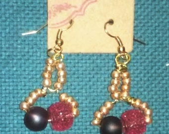 The Lupine,  handmade earrings consist of beads and wire earrings (faux gold,purple,pink