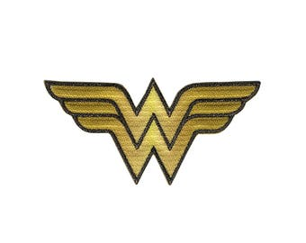 DC Comics Iron On Applique Wonder Woman Logo 2.25 x 4.5 inches, Superhero Patch, Kids Iron-On Patch, Embroidered Patch (443796)