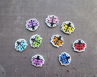 15 wooden buttons as pet Ladybug mix colors