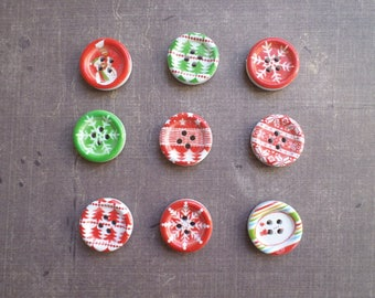 25 buttons Whitewood winter snowflake Christmas tree green red 1.8 cm
