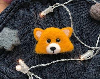 Needle felted fox, Fox brooch, Needle felted brooch, Felt brooch