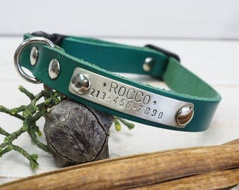 Green leather Collar, Cat Collar, Dog Collar, Small Dog Collar, Cat Collar Breakaway, Cat collar personalized, Personalized Dog Collar,