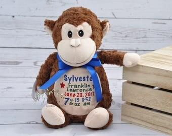 Personalized Monkey Stuffed Animal-Personalized Monkey Cubby-Personalized Stuffed Monkey-Birth Stat Monkey-Birth Annoucement Stuffed Animal