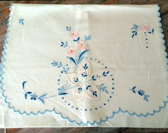 French embroidered pyjama case cushion cover pillow scalloped edge cotton vintage pretty white blue textile bedroom boudoir chic