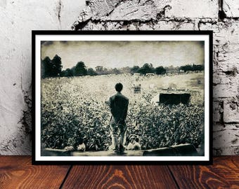 Oasis Liam Gallagher Maine Road concert gig Manchester britpop indie music wall art home decor watercolour watercolor a4 print