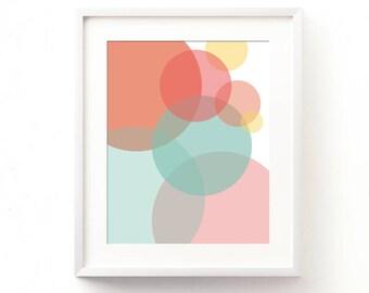 pastel nursery art, instant baby room art, abstract printable, digital download, girls room wall decor, summer print, circles, California