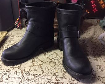SHORT Engineer Boots Georgia CORD Sole Woman's 8.5M Black Leather Motorcycle