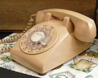 Vintage Beige Rotary Dial Desk ITT Telephone, Old Rotary Desk Phone, Home and Office Telephone, Old Tan Rotary Phone, Classic Landline Phone