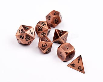 DnD Dice set-Metal Dice set for DnD RPG Dungeons and Dragons-Metallic Dice-Solid Heavy Gaming Dice-Shiny Heavy RPG D&D 7-Dice-Choose Color