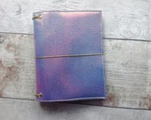 Mermaid travellers notebook Pink  faux leather irridescent glitterdori tn with pockets