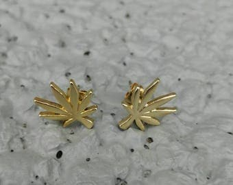Gold or Silver Matte Finish Cannabis Leaf Stud Earrings.