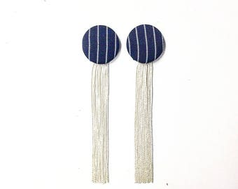 Black and white earrings with fringe